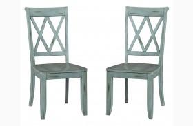 Vintage Antique Blue X-Back Side Chair Set of 2