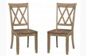 Vintage Weathered Grey X-Back Side Chair Set of 2