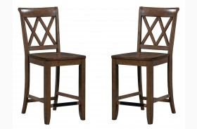 Vintage Weathered Grey X-Back Counter Height Stool Set of 2