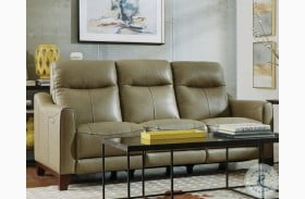 Forte Beige Power Reclining Sofa With Power Headrest