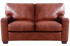 Aberdeen Auburn Top Grain Leather Loveseat