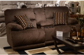 Riley Coffee Power Reclining Loveseat with Console