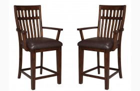 Artisan Loft Warm Medium Oak Upholstered Counter Height Arm stool Set of 2