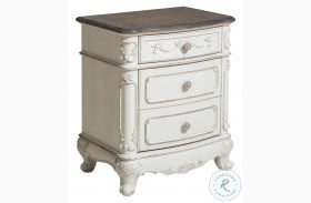 Cinderella Antique White With Grey Nightstand