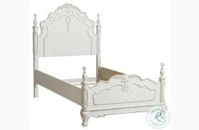 Cinderella Antique White With Gray Rub Through Youth Panel Bed