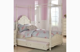 Cinderella Creamy White Youth Canopy Poster Bedroom Set ...