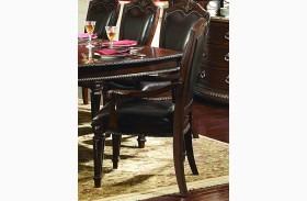 Palace Rich Brown Bi-Cast Leather Arm Chair Set of 2