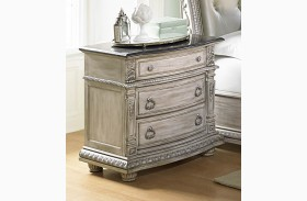 Palace II White Wash Marble Top Nightstand