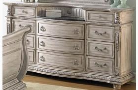 Palace II White Wash Marble Insert Dresser