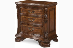 Old World Wood Top Rich Pomegranate Bedside Chest