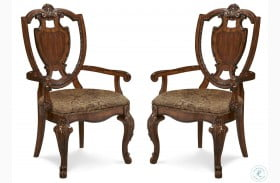 Old World Shield Back Arm Chair with Fabric Seat Set of 2