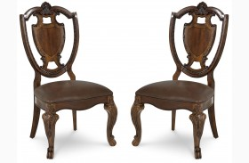 Old World Shield Back Side Chair Set of 2