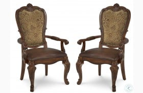Old World Upholstered Back Leather Arm Chair Set of 2