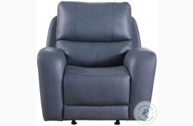 Cambria Blue Leather Bel Air Dual Power Glider Recliner