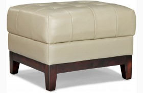Clayton Taupe Leather Ottoman
