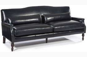 Felipe Regal Blue Leather Sofa