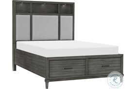 Wittenberry Gray Platform Bed With Footboard Drawer And LED