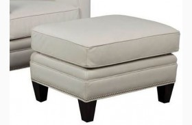 Halston Coast Shell Leather Ottoman