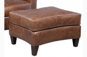Brandon Chaps Havana Brown Leather Ottoman