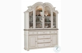 Willowick Antique White And Brown Cherry Buffet With Hutch