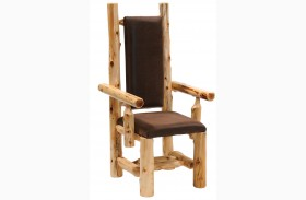 Cedar Upholstered High Back Log Arm Chair