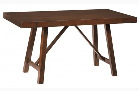 Omaha Burnished Saddle Brown Extendable Counter Height Table