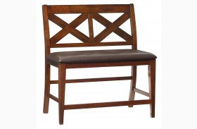 Omaha Burnished Saddle Brown X-Back Counter Height Bench