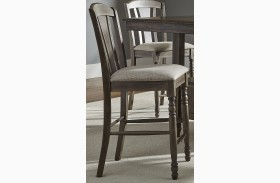 Candlewood Weather Gray Slat Back Barstool Set of 2