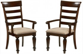 Charleston Tobacco Brown Upholstered Arm Chair Set of 2