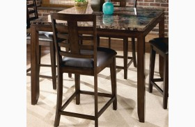 Bella Warm Chocolate Cherry Marbella Topped Square Counter Height Table