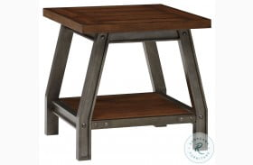 Holverson Rustic Brown And Gunmetal End Table