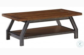 Holverson Rustic Brown And Gunmetal Cocktail Table