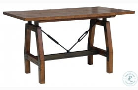 Holverson Rustic Brown And Gunmetal Counter Height Dining Table