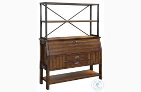 Holverson Rustic Brown And Gunmetal Buffet with Hutch