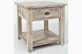 Artisans Craft Washed Grey End Table