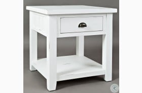 Artisans Craft Weathered White End Table