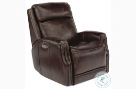Stanley Brown Leather Power Gliding Recliner With Power Headrest