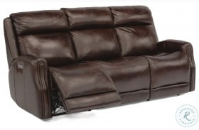 Stanley Brown Power Reclining Sofa With Power Headrest