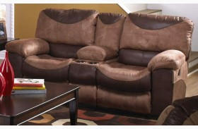 Portman Saddle/Chocolate Power Reclining Loveseat with Console