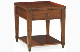 Sunset Valley Rich Mahogany Rectangular Drawer End Table