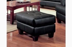 Samuel Black Leather Ottoman - 501684