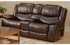 Kenwood Premier Brown Power Reclining Loveseat with Console