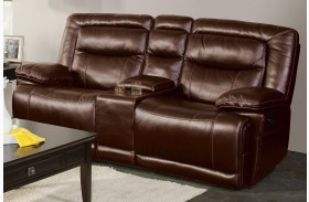 Torino Brown Power Reclining Loveseat with Console