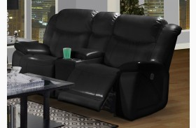 Soho Mesa Black Power Glider Reclining Loveseat with Console