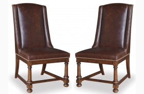 Whiskey Barrel Oak Leather Side Chair Set of 2