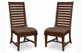 Whiskey Barrel Oak Slat Back Side Chair Set of 2