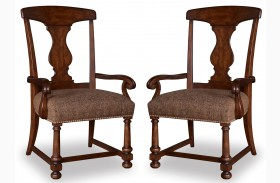 Whiskey Barrel Oak Splat-Back Arm Chair Set of 2