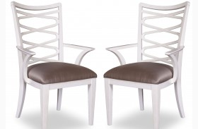 Cosmopolitan Parchment Ribbon Back Arm Chair Set of 2