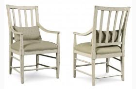 Echo Park Aged Canvas Slat Back Arm Chair Set of 2