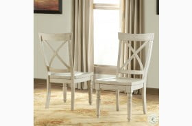 Aberdeen Weathered Worn White X Back Side Chair Set of 2